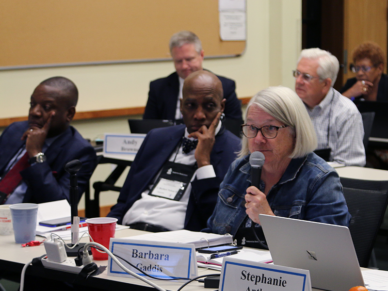 Barbara Gaddis, Moderator of COGA, leads discussion during COGA's first day of meetings. Photo by Randy Hobson.