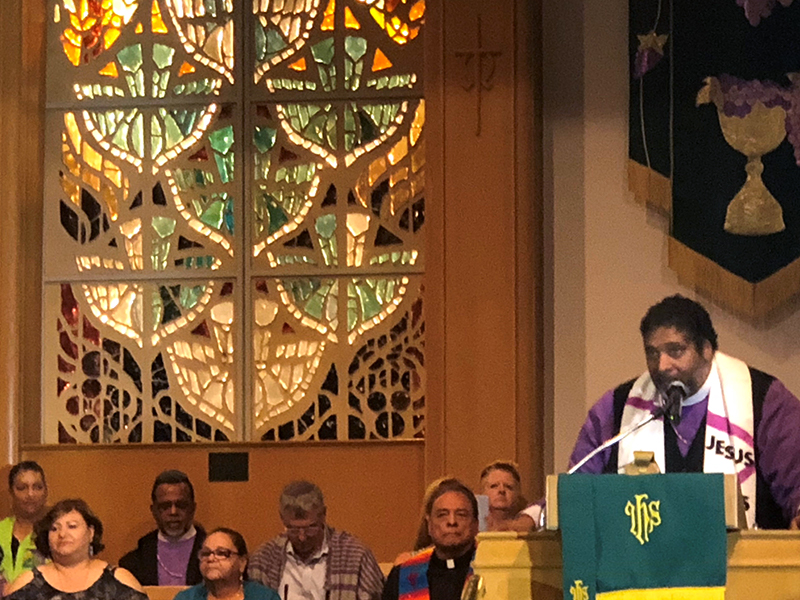 The Reverend Dr. William J. Barber II preaches at a Sunday evening service, prior to the Moral Monday demonstration in El Paso. Photo by the Reverend Alison Harrington.