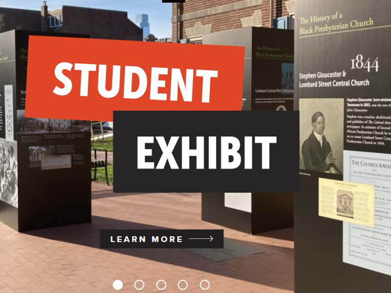 The outdoor Building Knowledge and Breaking Barriers exhibit in front of the Presbyterian Historical Society in Philadelphia.