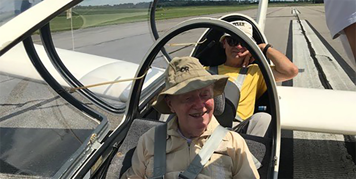 Bob Abrams (front), ready to take off on his 95th birthday glider flight. Photo by Gary Cook