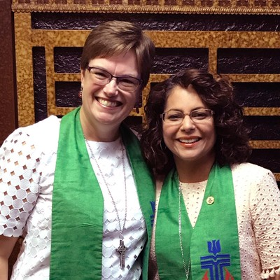 The Co-Moderators of the 223rd General Assembly, Rev. Cindy Kohlmann attends the commissioning service for Elder Vilmarie Cintron-Olivieri at First Spanish Presbyterian Church in Miami.