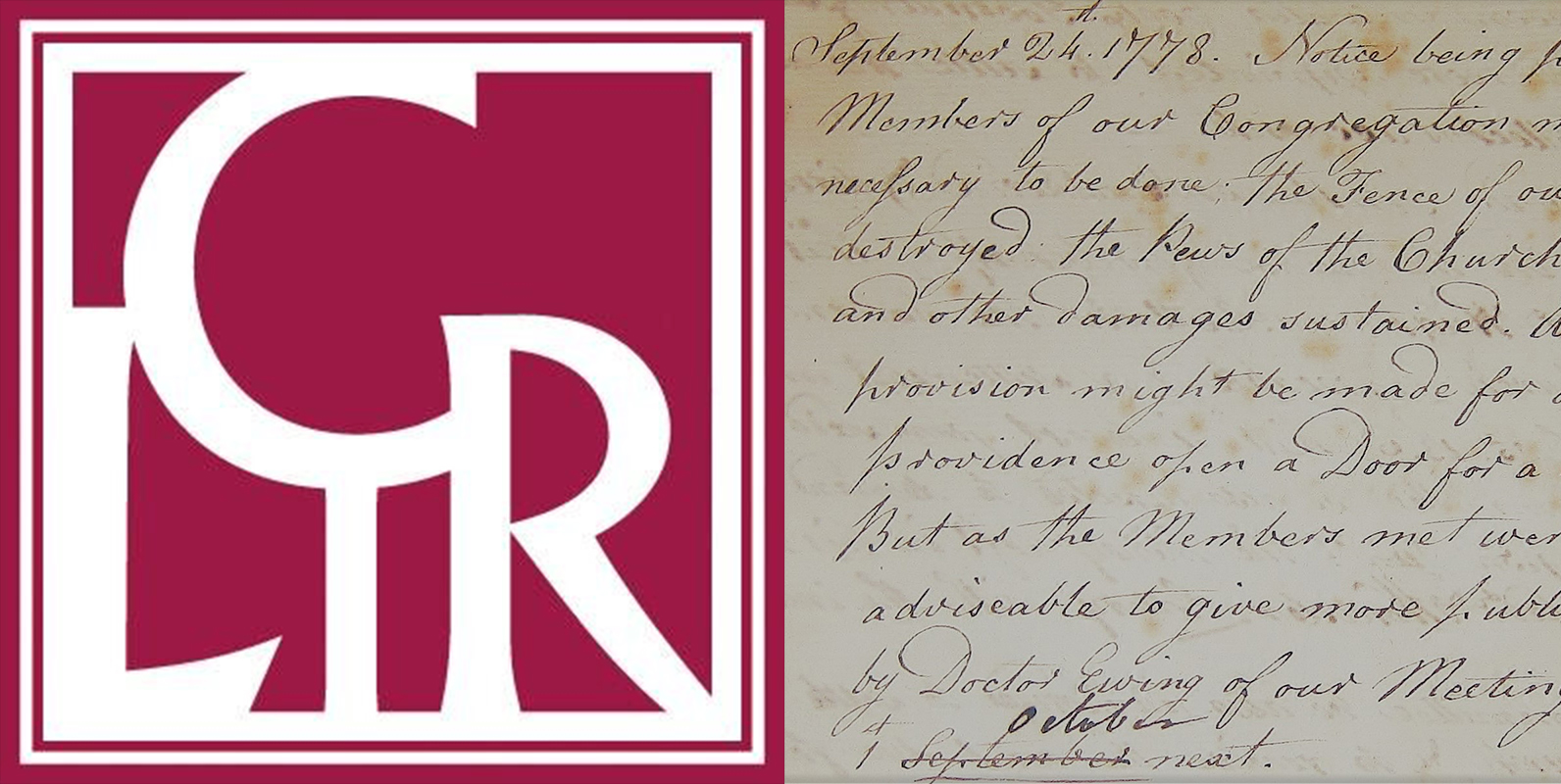 CLIR logo and session minutes from Second Presbyterian Church, Philadelphia, PA, 1778.