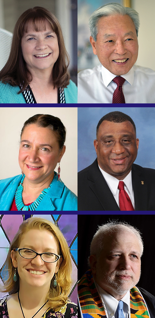 Candidates for Co-Moderators of the 224th General Assembly (2020): (top to bottom) Sandra Hedrick & Moon Lee, Elona Street-Stewart & Gregory Bentley, and Marie Mainard O'Connell & Arthur Fullerton