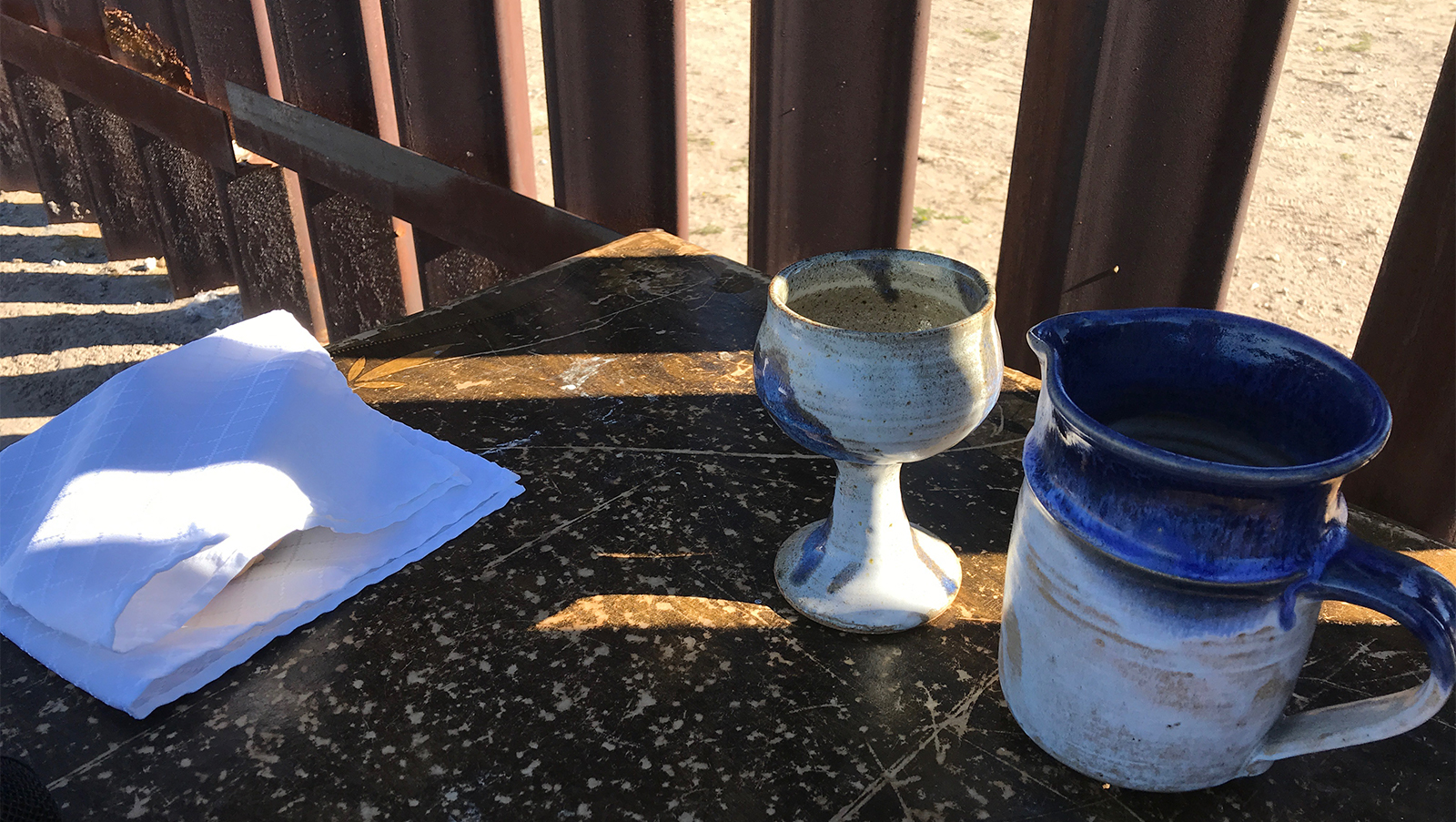 Communion Table Set Up at the Border Wall in Sunland Park, NM in November 2018.