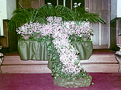flowers at easter service