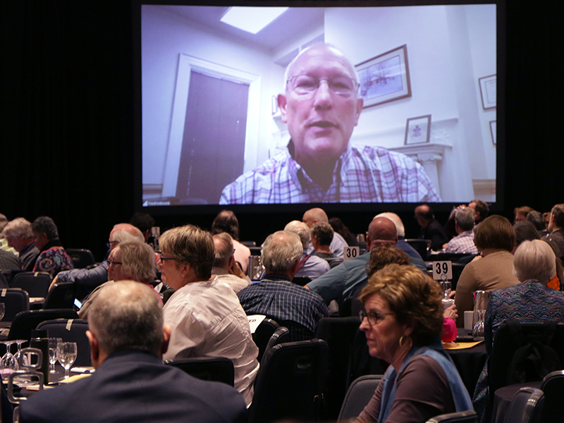 The Reverend Dr. Fred Holbrook, interim general presbyter and stated clerk with the Presbytery of the James, joins the Mid Council Leaders Gathering via Zoom. Photo by Rick Jones.