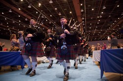 The Alma College Pipe Band processed into the Assembly Hall at Opening Worship.