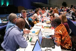 Commissioners and Advisory Delegates broke out into small groups  to discuss Marriage and Middle East Issues to begin plenary VII at the 221st General  Assembly (2014) of the PC(USA) in Detroit, MI on Thursday, June 19, 2014.