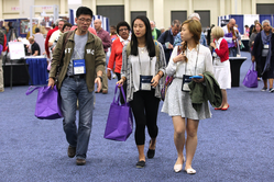 Visitors at the 221st General Assembly (2014) Exhibit Hall in Detroit, MI