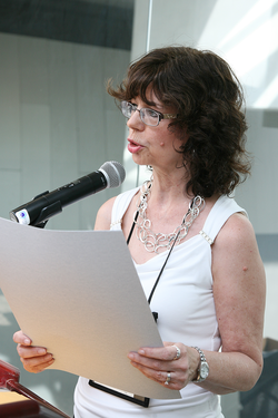 Lynn Smit , stated clerk of the Presbytery of Plains and Peaks, presented the C. Fred Jenkins Award at the 221st General Assembly (2014) of the PC(USA) in Detroit, MI on Tuesday June,17 2014.