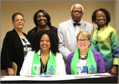 Pictured at the NBPC dinner: (left to right, back row) Arlene Gordon, Rosy Latimore, David Wallace, Sr., Iris Wallace (front row) Co-Moderators Denise Anderson and Jan Edmiston.
