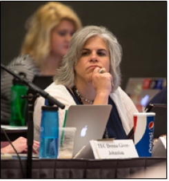 Laurie Furr-Vancini listens during the Middle East Issues Committee meeting.