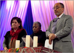 Eliana Maxim (left), Terry McCrae Hill (center), and Wajdi Said (right) lead a prayer litany for the victims of Charleston and Orlando.