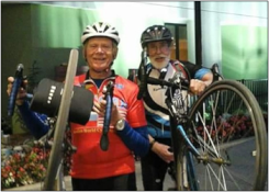 Chuck Wood, left, Pete Wells were two of the six cyclists to participate in a pedaling pilgrimage to the 222 nd General Assembly.