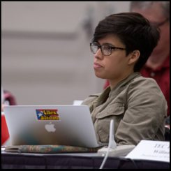 Stephanie Quintana-Martinez listens to the proceedings of The Way Forward Committee.