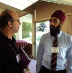 Simran Jeet Singh (right), executive director of the Sikh Spirit Foundation; spoke with David Leslie, executive director of Ecumenical Ministries of Oregon.