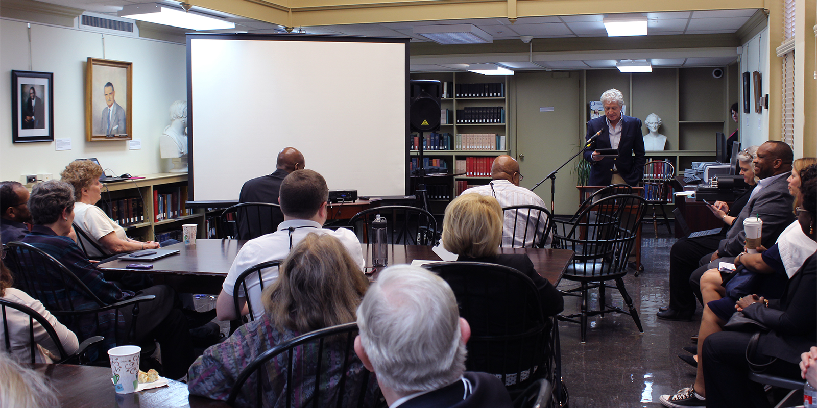 George Abdo, chair of the Presbyterian Historical Society board, speaks to the COGA and PHS Board members at their joint meeting at PHS offices in Philadelphia. Photo by Rick Jones