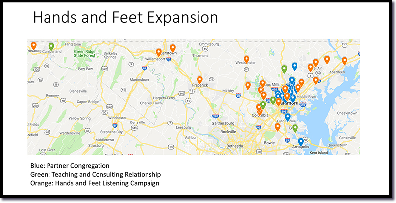 map of hands and feet program reach in baltimore, maryland
