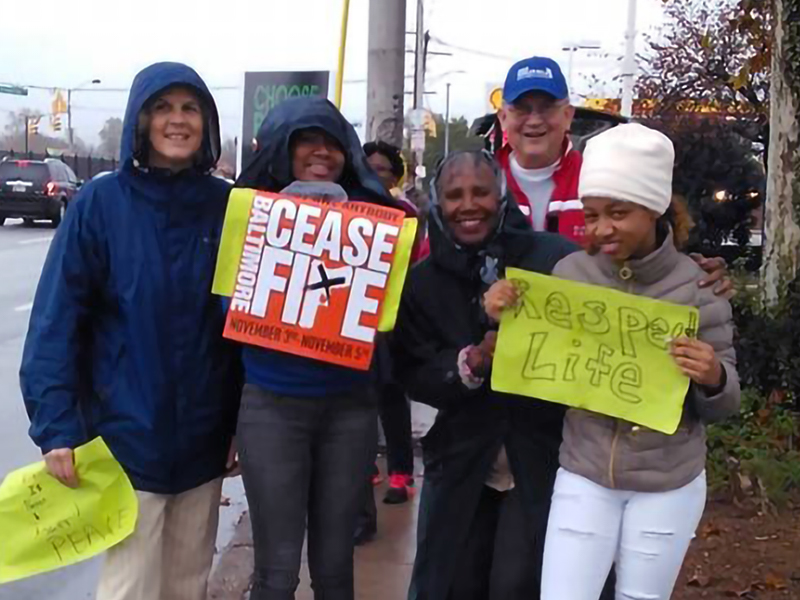 Members of Hunting Ridge Presbyterian Church in Baltimore take part in a Baltimore Ceasefire event earlier this year. Photo provided.