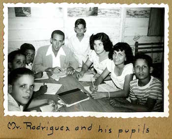 Manuel Rodríguez with students, Presbytery of Cuba Scrapbook, 1949