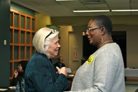 Joyce Lieberman (left), associate for Constitutional Interpretation for the OGA, congratulates with Jewel McRae