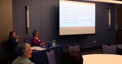 Amanda Craft and Teresa Waggener with the PC(USA)'s Office of Immigration lead a workshop at the conference.