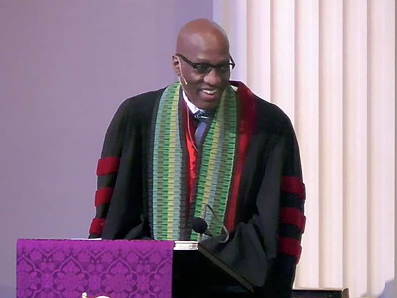 The Rev. Dr. J. Herbert Nelson, II, leads worship at The Brick Presbyterian Church in New York City on Sunday, March 1, 2020. Image provided.