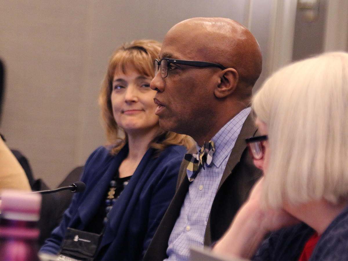 Julia Henderson (left) and the Reverend Dr. J. Herbert Nelson, II, discuss their plans for the 224th General Assembly (2020)with COGA on Wednesday in Baltimore. Photo by Randy Hobson.