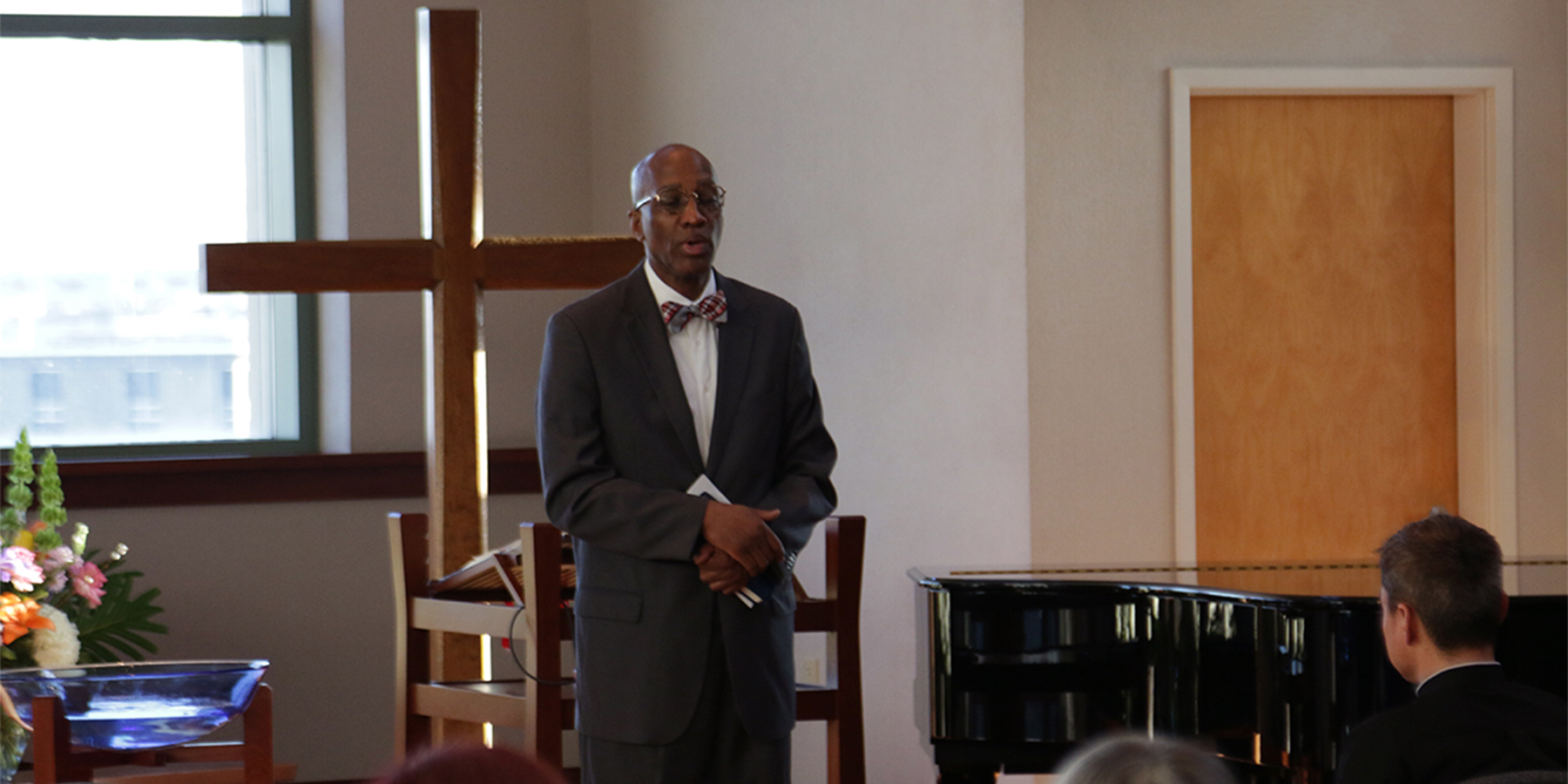 The Reverend Dr. J. Herbert Nelson, II, Stated Clerk of the PC(USA), led the memorial service. Photo by Randy Hobson