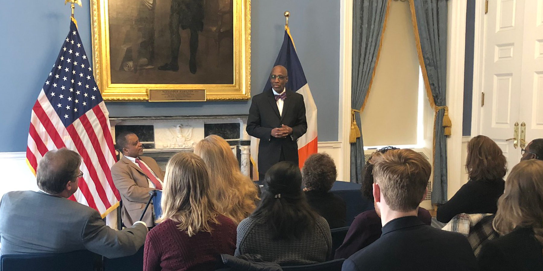 J. Herbert Nelson introduces members of a PC(USA) delegation at a meeting with leaders from New York Mayor di Blasio's office. Photo provided.