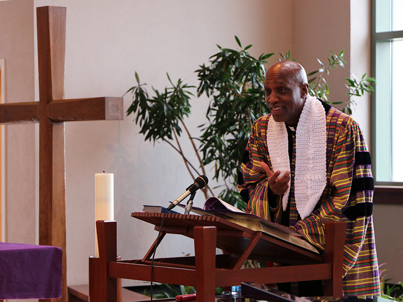 The Rev. Dr. J. Herbert Nelson, II, delivers the eulogy at the worship/memorial service. Photo by Angie Stevens.