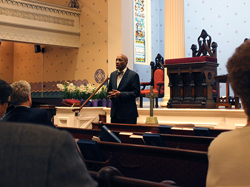 Rev. Dr. J. Herbert Nelson preaches at a memorial service for Robina Winbush, at the Old Pine Street Church in Philadelphia. Photo by Rick Jones