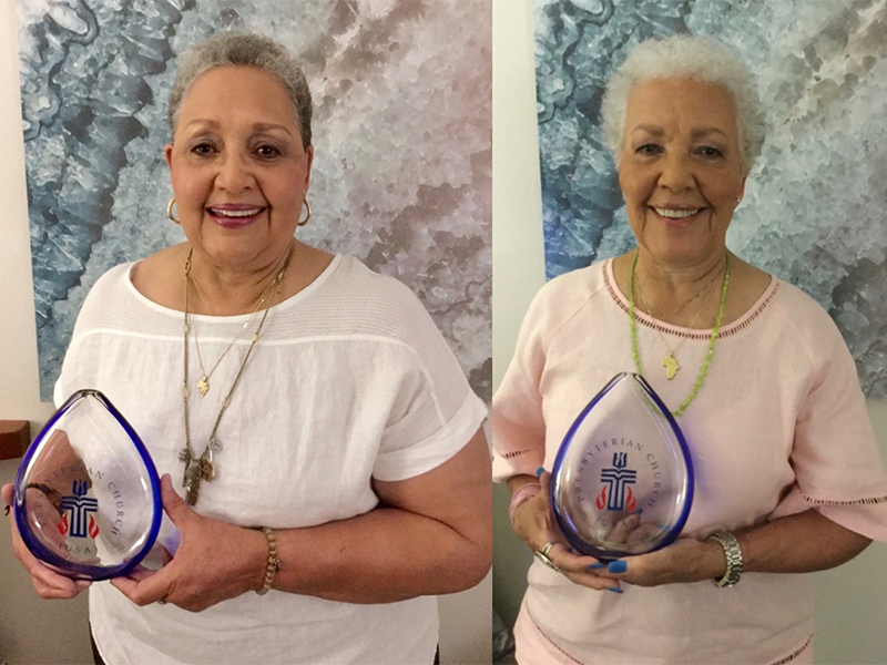 Katherine Goble Moore and Joylette Goble Hylick, daughters of Katherine Johnson, hold the Crystal Teardrop Awards. Photo provided.
