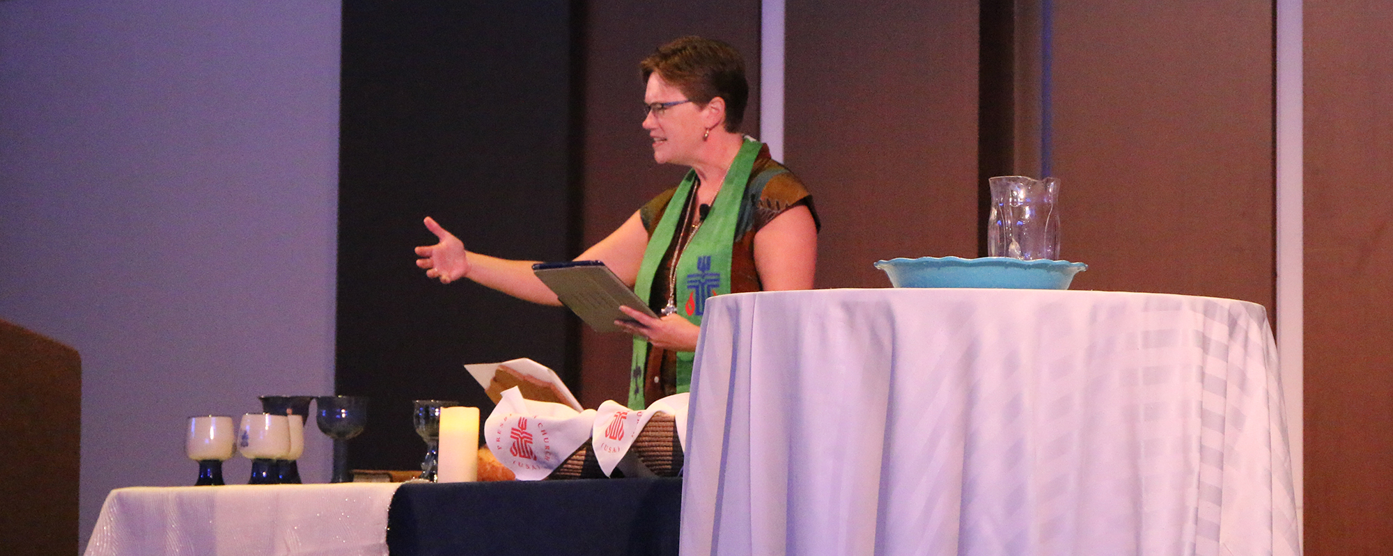 he Rev. Cindy Kohlmann, co-moderator of the 223rd General Assembly, preached during the gathering. Photo by Rick Jones