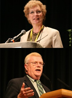 Linda Valentine and Gradye Parsons speak at the 219th General Assembly