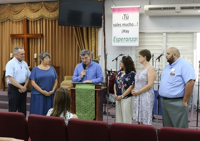 Mayor of Isabel issues proclamation to PC(USA) delegation visiting Montclair Presbyterian Church. (left to right) Rev. Jim Kirk, Rev. Dr. Laurie Kraus from PDA, Mayor Carlos O. Delgado Altieri, Co-Moderators Vilmarie Cintrón-Olivieri and Cindy Kohlmann, and Rev. Edwin González-Castillo from PDA.