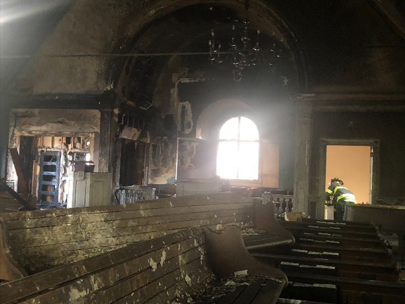 A December fire did $100,000 in damage to Martin Luther King Jr. Community Presbyterian Church in Springfield, Massachusetts. Photo by Presbytery of Southern New England.