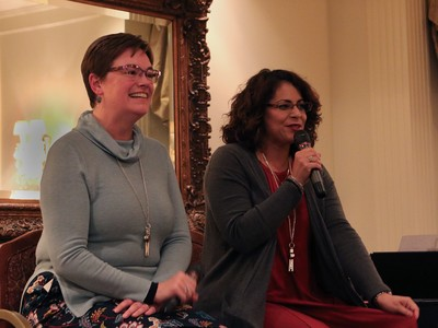 Rev. Cindy Kohlmann and Ruling Elder Vilmarie Cintron-Olivieri take questions during the Moderators' Conference.