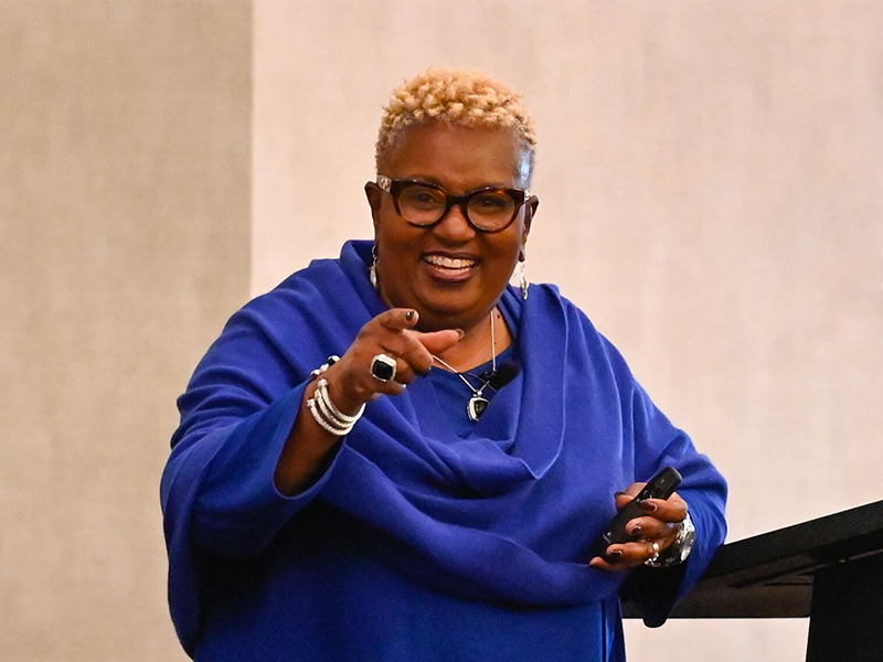 Monica Walker, a senior trainer with the Racial Equity Institute, was one of two presenters Wednesday during a discussion on race. About 300 members of the Presbyterian Church (U.S.A.) national staff participated. Photo by Rich Copley