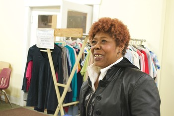 Trinity Staff Member Iris Jackson welcomes guests with a meal and clothing every Thursday night at Pat's Closet