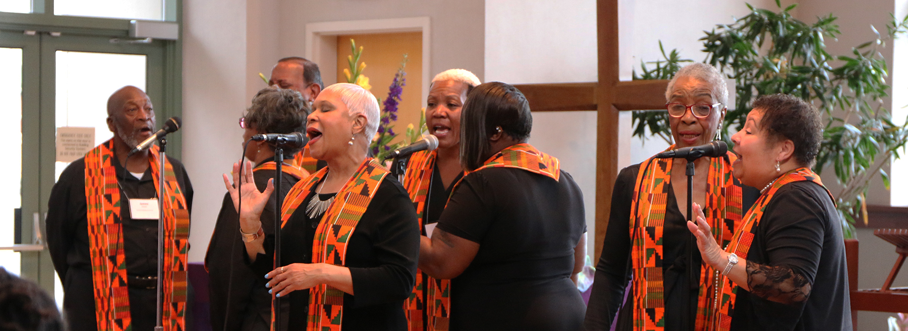 The Peace Choir sang several of Robina Winbush's favorite songs during worship at the PC(USA) Chapel. Photo by Angie Stevens.