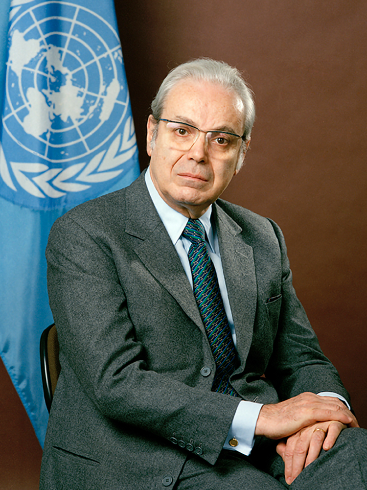 Portrait of Javier Pérez de Cuéllar, Secretary-General of the United Nations. [Exact date unknown], United Nations, New York