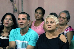 Worshipers at the Presbyterian Mission in Holguin pay close attention to the sermon.