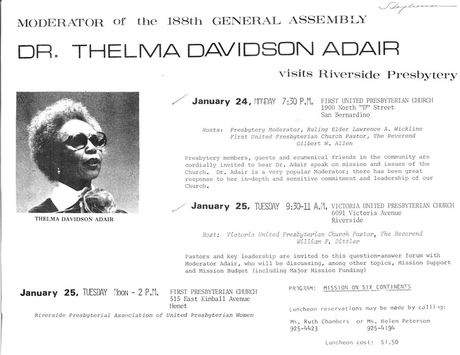 """Program: Mission On Six Continents"": Flier for appearance by Thelma Adair during her Moderator year. From PHS collections."