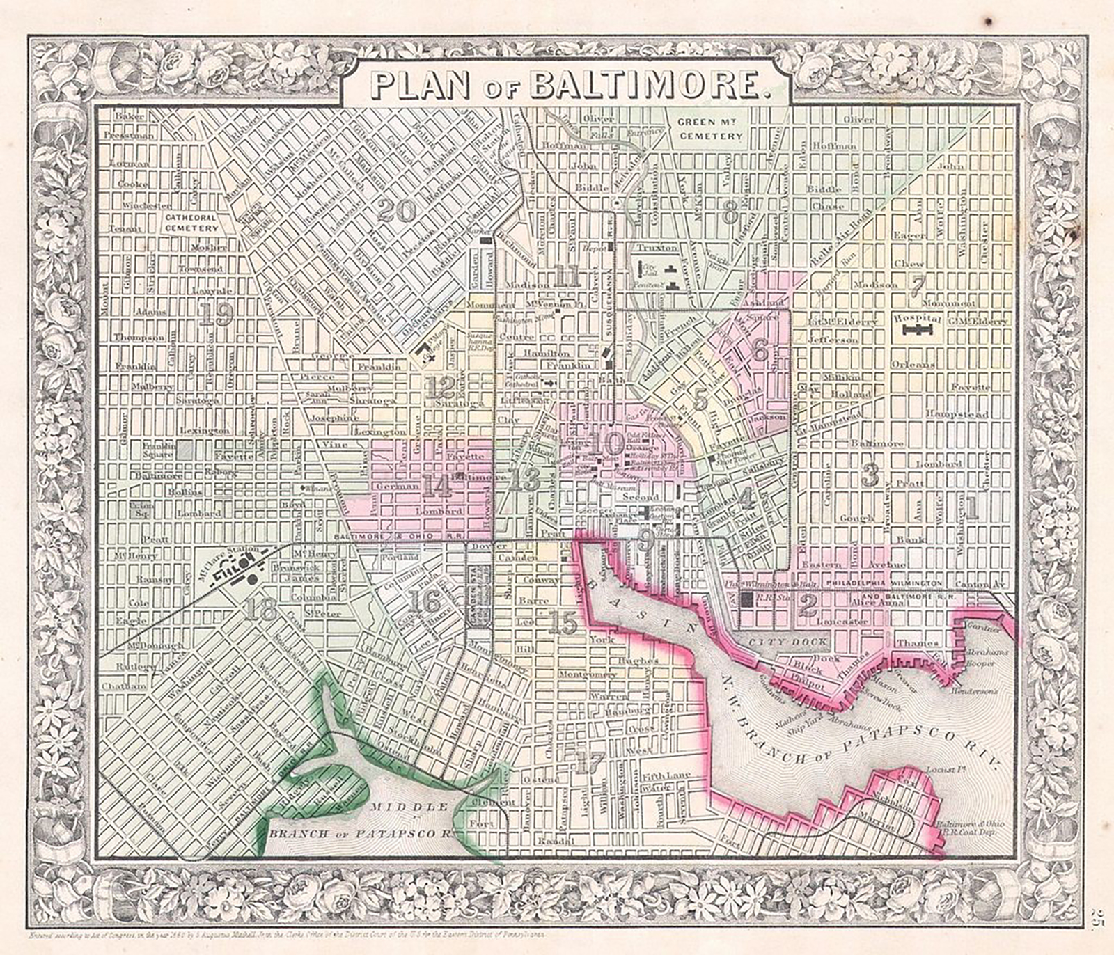 """Mitchell Map of Baltimore,"" 1864. Courtesy of Wikicommons."