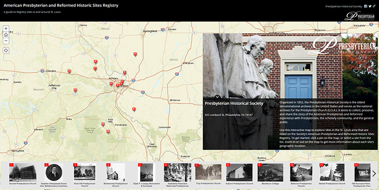 Screenshot of Presbyterian Historic Sites Storymap