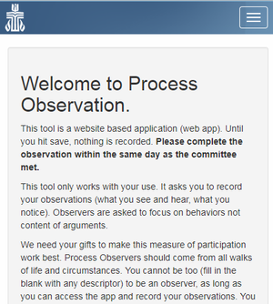 Process Observation Welcome Screen