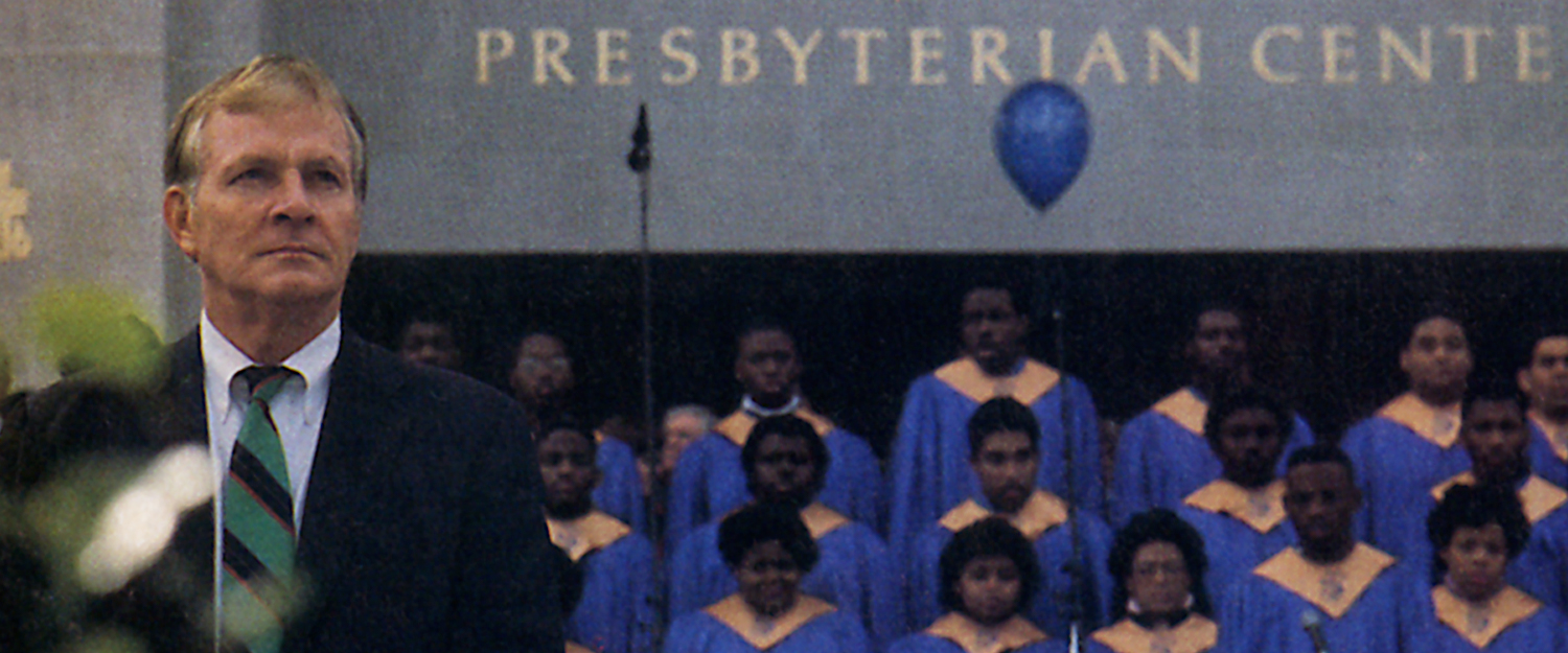 David A. Jones Sr., at the dedication of the Presbyterian Center in Louisville on October 29, 1988. Behind him is the Stillman College Choir. Photo by Eva Stimson.