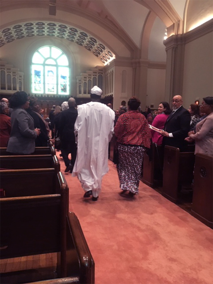 A procession of clergy enter the sanctuary of Broad Street Presbyterian Church in Columbus, Ohio, for Robina Winbush's funeral. Photo by Rick Jones.
