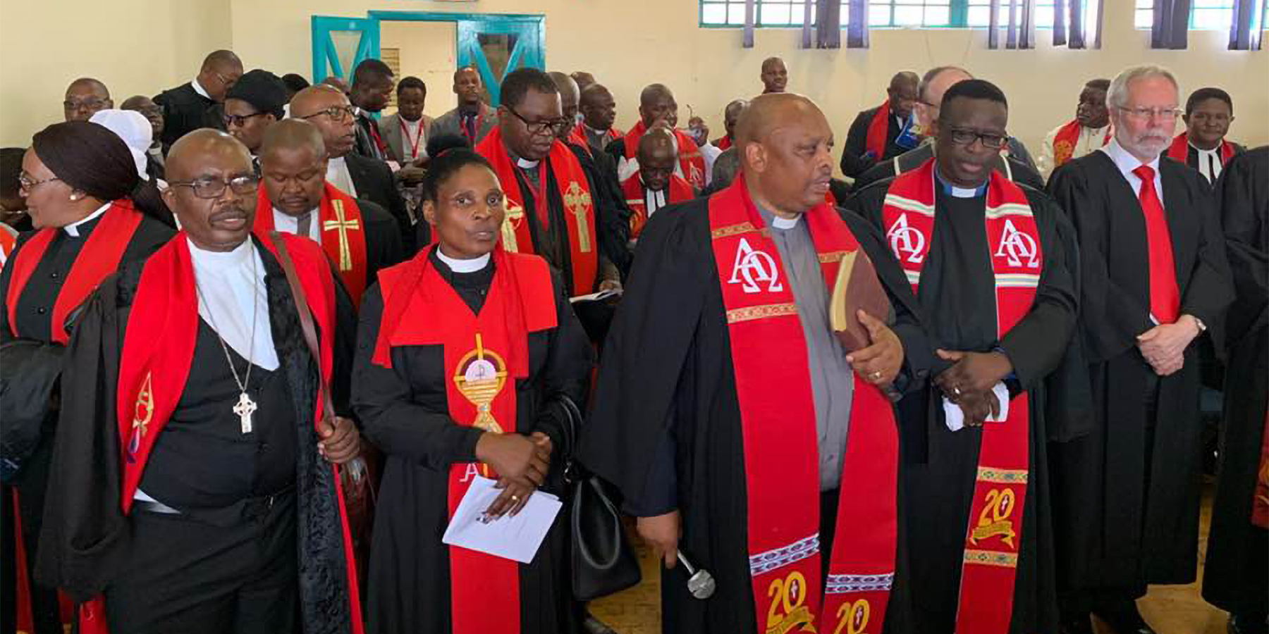 South African clergy gather for worship during the recent twenty-year celebration. Photo by Cindy Kohlmann